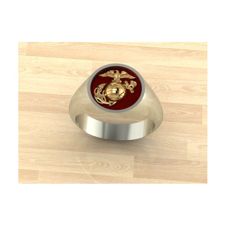 Ladies two tone Marine Corps ring